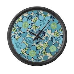 Blue Hippie Flower Art Large Wall Clock