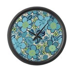 Blue Hippie Flower Art Large Wall Clock