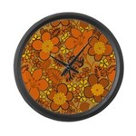 Floral 1960s Hippie Art Large Wall Clock