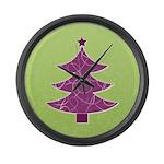 Purple & Green Seasonal Large Wall Clock