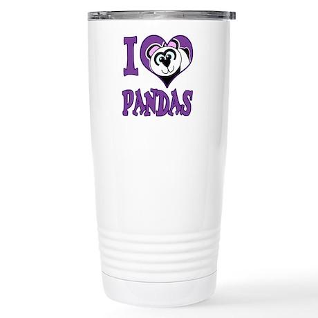 I Love (Heart) Pandas Stainless Steel Travel Mug