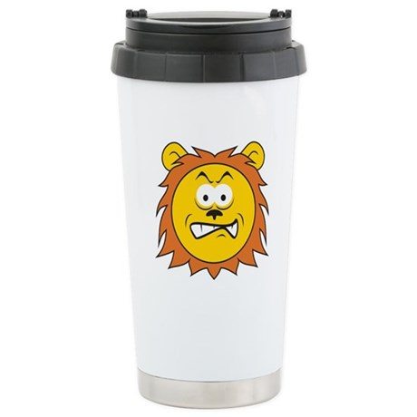 Lion Smiley Face Travel Mug by dagerdesigns