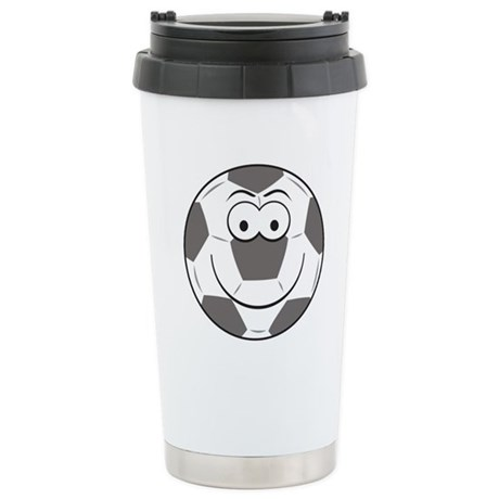 Soccer Ball Smiley Face Stainless Steel Travel Mug