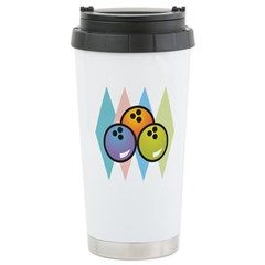Retro Argyle Bowling Design Travel Mug
