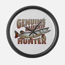 Muskie Hunter Large Wall Clock