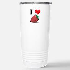 I Heart (Love) Strawberries Stainless Steel Travel