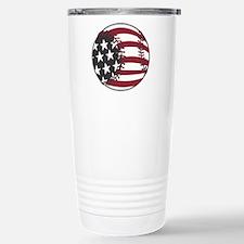 USA Stars and Stripes Basebal Travel Mug