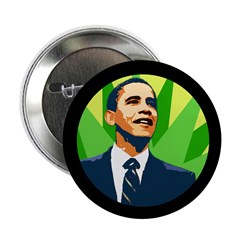 Barack Obama Green Motif Campaign Button