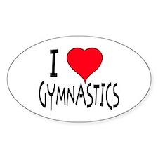 I LOVE GYMNASTICS Oval Stickers