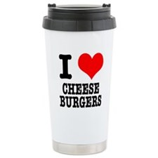 I Heart (Love) Cheeseburgers Travel Mug