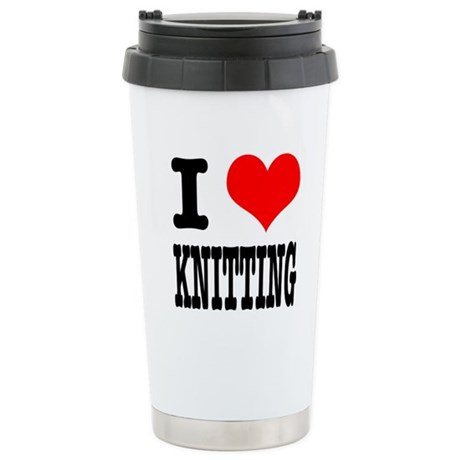 I Heart (Love) Knitting Stainless Steel Travel Mug