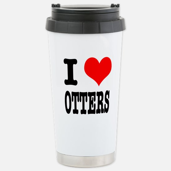 I Heart (Love) Otters Stainless Steel Travel Mug
