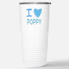 Blue I Heart (Love) Poppy Travel Mug