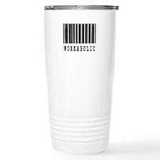 Workaholic Barcode Design Travel Mug