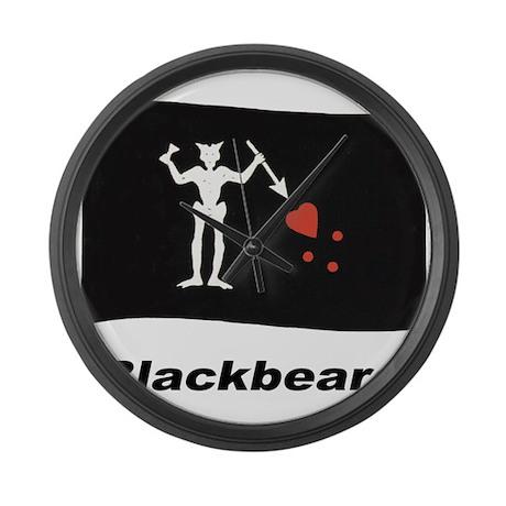 Pirate Flag - Blackbeard Large Wall Clock