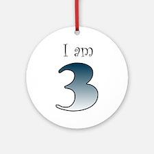 I am 3 (navy blue) Ornament (Round)