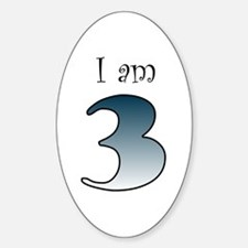 I am 3 (navy blue) Oval Decal