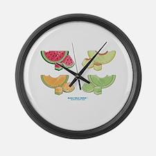 Kawaii Summer Melons Group Large Wall Clock