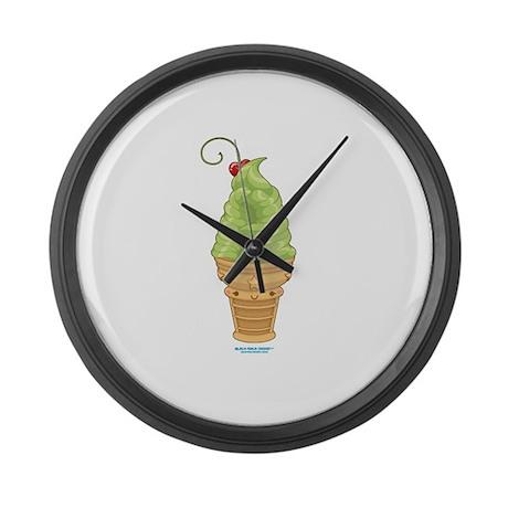 Kawaii Lime Ice Cream Large Wall Clock