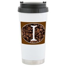 Letter I Monogrammed Stainless Steel Travel Coffee