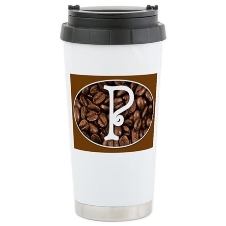 Coffee Mug Monogrammed with P Stainless Steel Trav