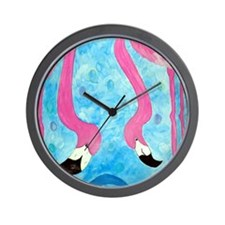 Flirting Flamingos Wall Clock