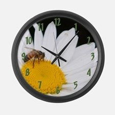 Bee on Shasta Daisy Large Wall Clock