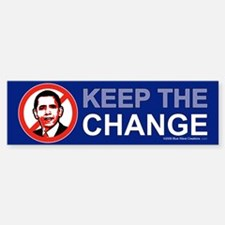 "KEEP THE CHANGE, 10x3"" anti Obama sticker"