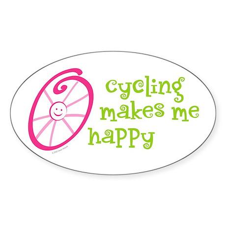Happy Cycling Oval Sticker (10 pk)