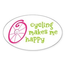 Happy Cycling Oval Bumper Stickers