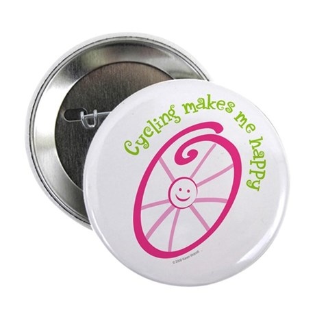 """Happy Cycling 2.25"""" Button (10 pack)"""