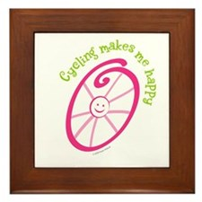 Happy Cycling Framed Tile