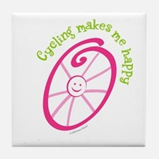 Happy Cycling Tile Coaster