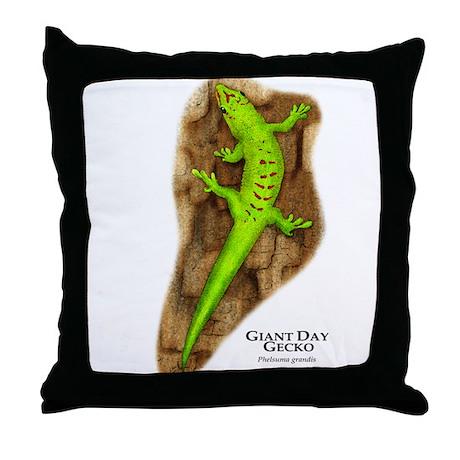 Giant Day Gecko Throw Pillow