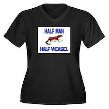 Half Man Half Weasel Women's Plus Size V-Neck Dark