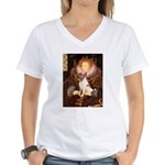 Queen/Fox Terrier (#S4) Women's V-Neck T-Shirt