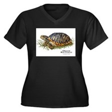 Ornate Box Turtle Women's Plus Size V-Neck Dark T-