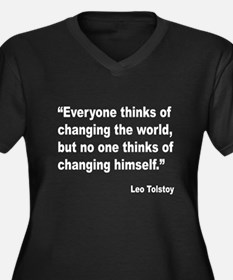 Tolstoy Change Quote (Front) Women's Plus Size V-N