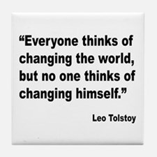 Tolstoy Change Quote Tile Coaster