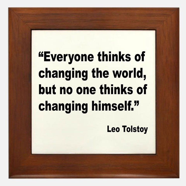 Tolstoy Change Quote Framed Tile