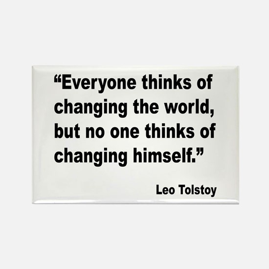Tolstoy Change Quote Rectangle Magnet