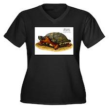 Wood Turtle Women's Plus Size V-Neck Dark T-Shirt
