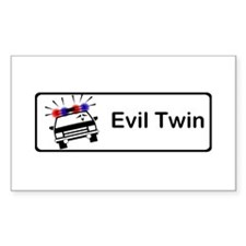Evil Twin Hijacks Cop Car Rectangle Decal