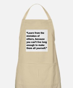 Learn from Mistakes Quote BBQ Apron