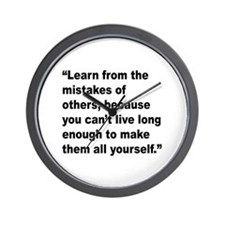 Learn from Mistakes Quote Wall Clock