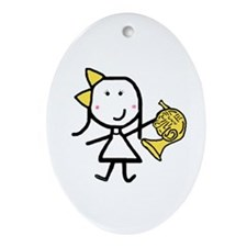 Girl & French Horn Oval Ornament