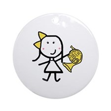 Girl & French Horn Ornament (Round)
