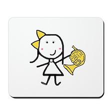 Girl & French Horn Mousepad