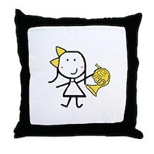 Girl & French Horn Throw Pillow