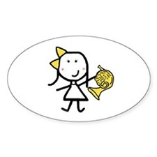 Girl & French Horn Oval Decal